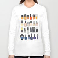 nail polish Long Sleeve T-shirts featuring my nail polish collection by uzualsunday