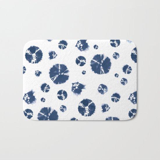 Shibori Polka Splotch Indigo Blue Bath Mat