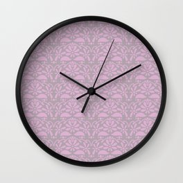 floral lace ruffle seamless repeat pattern in party pink and dream of cotton Wall Clock