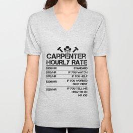Funny Carpenter Hourly Rate shirt Wood Working Labor Rates Unisex V-Neck