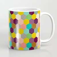 hexagon Mugs featuring Fun Hexagon by Louise Machado