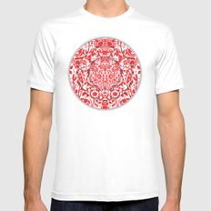 Illusionary Daisy (Red) Mens Fitted Tee White MEDIUM