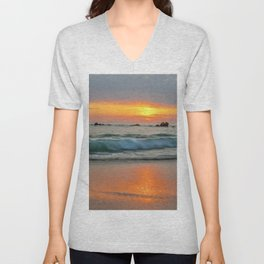 Golden sunset with turquoise waters Unisex V-Neck
