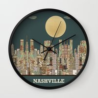 tennessee Wall Clocks featuring music city tennessee  by bri.b