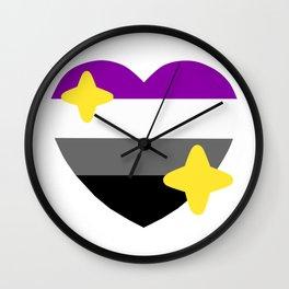 Asexual Pride Sparkling Heart Emoji Wall Clock
