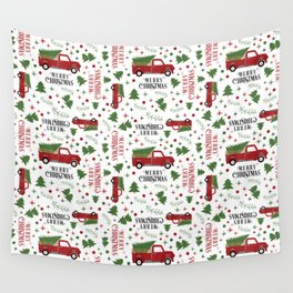 Merry Christmas Red Vintage Truck with Tree Wall Tapestry
