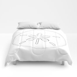 Sand Dollar Blessings - Black on White Pointilism Art Comforters