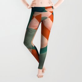The Sunset & The Mountains Retro Abstract Art - Teal & Burnt Sienna Leggings