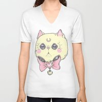 meow V-neck T-shirts featuring Meow by lOll3