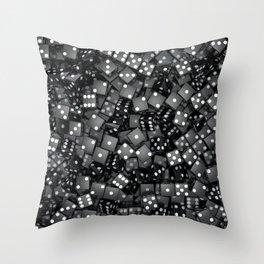 Black dice Throw Pillow