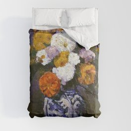Paul Cezanne - Dahlias in a Delft vase Comforters