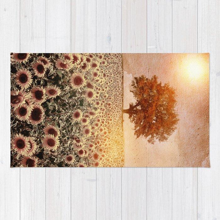 lone tree & sunflowers field (colour option) Rug
