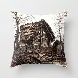 Slavic Hut Throw Pillow