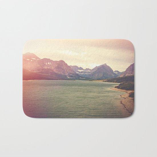 Retro Mountain Lake Bath Mat