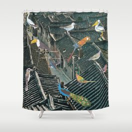 Bird Town Shower Curtain