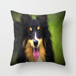 Tri colored Shetland Sheepdog Sheltie Throw Pillow