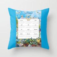 calendar 2015 Throw Pillows featuring Welcome 2015 Calendar by KarenHarveyCox