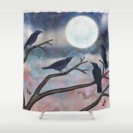 crows, moths, moon Shower Curtain