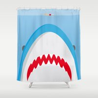 jaws Shower Curtains featuring Jaws by Daniel Anastasio