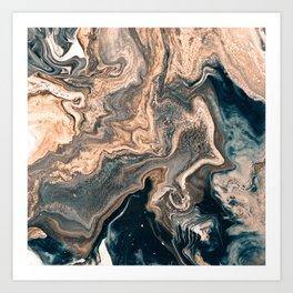 M A R B L E - copper & blue Art Print