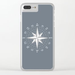 Compass in White on Slate Grey color Clear iPhone Case