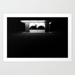 Lonely in the dark with only a light to shine Art Print
