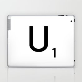 Letter U - Custom Scrabble Letter Tile Art - Scrabble U Initial Laptop & iPad Skin