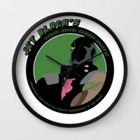 cowboy bebop Wall Clocks featuring Bebop Jet by AngoldArts