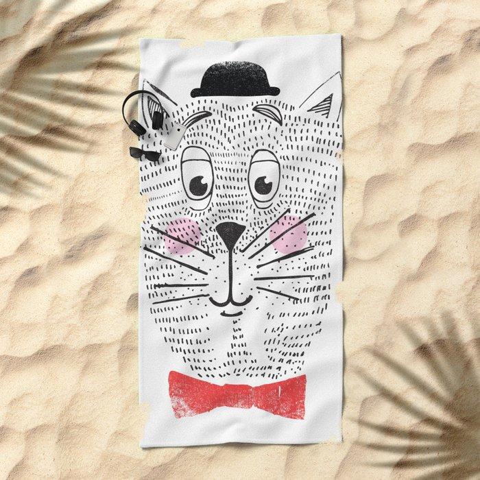 CAT IN A BOWTIE Beach Towel