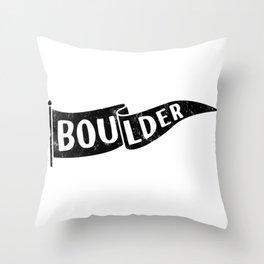 Boulder Colorado Pennant Flag // University College Dorm Room Graphic Design Decor Black & White Throw Pillow