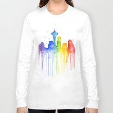 Seattle Skyline Rainbow Watercolor Long Sleeve T-shirt