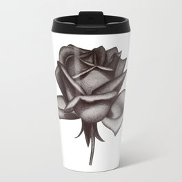 Black and White Rose in Ink Travel Mug