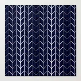 Chevron pattern -  white on darkblue Canvas Print