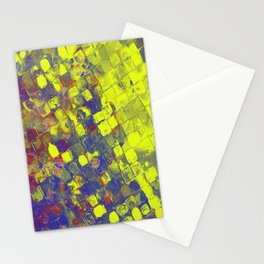 Take The First Step - Abstract, blue and yellow pattern Stationery Cards