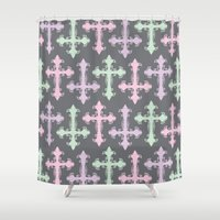 pastel goth Shower Curtains featuring Pastel Goth | Grey by Glitterati Grunge