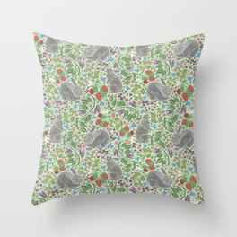Grey rabbits with berries and bluebells on light green background Throw Pillow