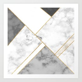 White, Grey and Gold Marble Art Print