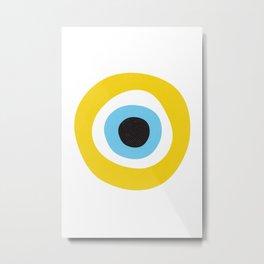 Yellow Evil Eye Symbol Health Protection Metal Print