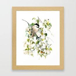 chickadee and dogwood, chickadee art design floral Framed Art Print