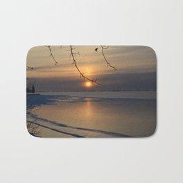 Sunrise over lake Bath Mat