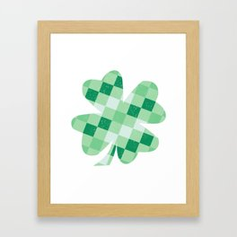 Checkered Shamrock. Four Leaf Clover. St Patrick's Day Framed Art Print