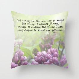 Serenity Prayer Lilac Buds Throw Pillow