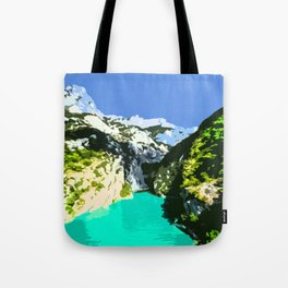 Mountains, River and Blue Sky Tote Bag