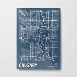 Calgary Blueprint Street Map, Calgary Colour Map Prints Metal Print