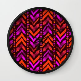 Tribal Scribble Kilim in Neon Coral + Brown Wall Clock