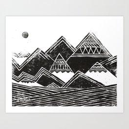 Abstract Tribal Mountains Illustration Art Print