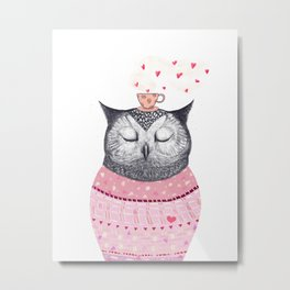 Owl lover of coffee Metal Print