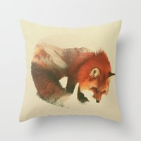 snow Throw Pillows featuring Snow Fox by Andreas Lie