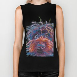 Wirehaired Pointing Griffon Fun Dog bright colorful Pop Art panting by LEA Biker Tank