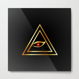 All Seeing Eye of illuminati in gold Metal Print
